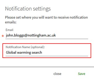 """Notification settings pop-up screen showing the new optional """"Notification Name"""" field."""