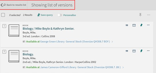 """List of versions page showing two results, with the new """"Back to results link"""" and title highlighted"""