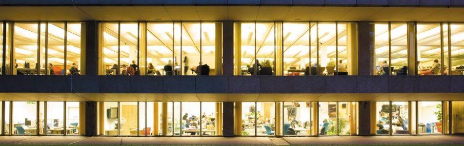 Hallward Library lit up at night
