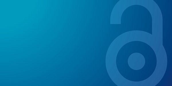 Image of the Open Access logo padlock on a blue gradient background