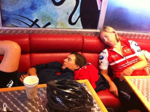 Karen and Kate asleep on the ferry