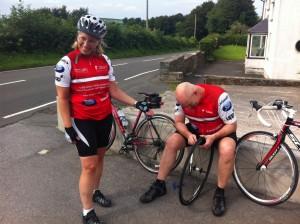 Kate and Nick mending wheels