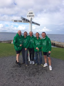 Nick, Karen, David, Chris R and Esteban at John O'Groats