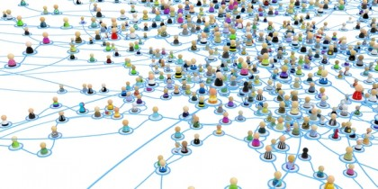 Crowd of small symbolic 3d figures linked by lines.
