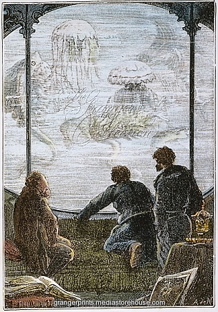 "VERNE: 20,000 LEAGUES, 1870. The view from the observation window of Captain Nemo's ""Nautilus"": wood engraving after a drawing by Alphonse de Neuville from an 1870 edition of 'Twenty Thousand Leagues Under the Sea' by Jules Verne."