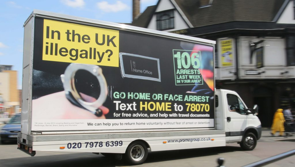 The UK government's 'Go Home' van. Photographer: Rick Findler (www.rickfindler.photoshelter.com)