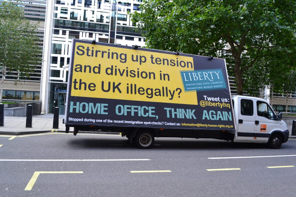 Liberty's response to the 'Go Home' vans. Courtesy of Liberty (www.liberty-human-rights.org.uk/)