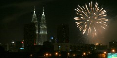 Petronas Towers and Fireworks