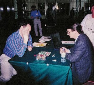 Graham Kendall, playing Blondie24 (operated by David Fogel) in 2002. Graham lost!