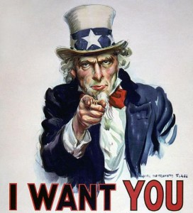 I want you (downloaded from Wikipedia Commns, it is in the public domain - http://commons.wikimedia.org/wiki/File:I_want_you.jpg)