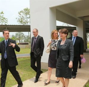 A visit (27th Mar 2013) to UNMC by the University's new Chancellor, Sir Andrew Witty. I'm not quite sure why I am carrying a pink handbag! (Left to right, Professor Stephen Doughty, Sir Andrew Witty, Lady Caroline Witty, Professor Christine Ennew, Professor Graham Kendall)