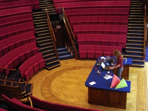 Royal Institution Lecture Theatre. This was the lecture theatre where Faraday first demonstrated electromagnetism (downloaded from Google 14 Aug 2013, labelled as free to use): http://www.flickr.com/photos/dgeezer/2873482120/