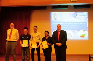Prof. Ian Harrison (from left), PGR Poster Competition Grand Prize Winner Wilson Ho, First Runner-Up Muhammad Yaasiin Oozeer, Second Runner-Up Renu Geetha Bai and Prof. Graham Kendall