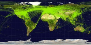 World Airline Route Maps: Downloaded from Google (22 Dec 2013, labaled as free to reuse) - URL: http://en.wikipedia.org/wiki/File:World-airline-routemap-2009.png