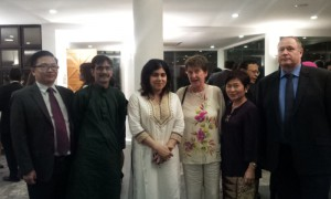 Baroness Warsi (Minister of State for Faith and Communities) (third from left), with (left to right) Professor Chew Ging Lee, Dr Nafis Alam, Professor Christine Ennew, Professor Fon Sim Ong and Professor Graham Kendall