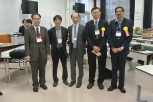 Group photo taken among invited speakers and host for SCEJ Annual Meeting.  From left: Dr Keiji Yasuda (Nagoya University, Japan; host for Dr Gogate Parag), Prof Moonyong Lee (Yeungnam University, Korea; invited speaker for International Symposium for Advancements in Process Systems Engineering); Professor Yoshiyuki Yamashita (host for Prof Foo and Prof Lee); Professor Foo; Dr Gogate Parag (Institute of Chemical Technology, India).
