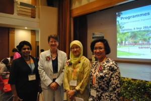 Photo A: From Left, Prof. Dr. Wickneswari Ratnam Fasc (UKM), Professor Christine Ennew, Provost and CEO (UNMC),    Y. Bhg. Prof. Dr. Raha binti Abdul Rahim (Ministry of Education), Y. Bhg. Prof. Dr. Adeeba Kamarul Zaman (UM)