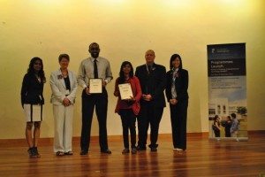 Photo D: Winners of the Best Poster Presentations: From Left, Ms. Geetha Baskaran (UMNC), Professor Christine Ennew, Provost and CEO (UNMC), Mr. Jaya Kumar Karunagharan (Winner for Staff Category), Ms. Sadia Afreen (Winner for Student Category), Professor Graham Kendall (Vice-Provost for Research & Knowledge Transfer, UNMC), Professor Chong Mei Fong (WinSET Chair)