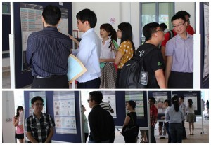 Participants with their respective posters during showcase