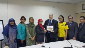Visit to Universiti Malaysia Terengganu (UMT) (15 Sep 2015); Left to right - Cik Noorasiah Moidu, Assistant Registrar, Academic Talent Management Center, UMT; Deepa Kumari Veerasingam, MyMentor Project Manager; Dr. Jarina Mohd Jani, Director, International Networking Office, UMT; Prof Dato'Dr. Nor Aieni Binti Haji Mokhtar, Vice Chancellor, UMT; Professsor Graham Kendall, Vice-Provost (Research and Knowledge Transfer), University of Nottingham Malaysia Campus; Prof.Madya.Dr.Mohd Ikmar Nizam Bin Haji Mohamad Isa, Director, Research Management Center, UMT; Prof Hamdan Bin Suhaimi, Director, Center for Academic Planning and Management, UMT; Dr. Mohd Nazli bin Mohd Noor, Head of Risk Management, Center for Transformation, Strategic Planning and Risk Management, UMT