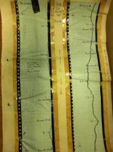 Unidentified chart, possibly showing changes in water levels, partly held together by yellowed, brittle sticky tape