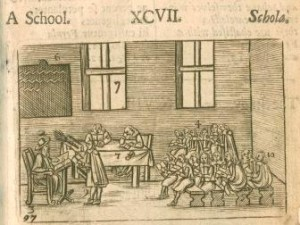 Engraving of boys seated on long benches, in a medieval school room,  with the Master seated at the front