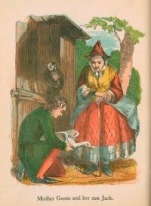 Colour illustration of Jack crouched down holding a goose whilst Mother Goose watches him