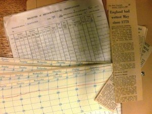 Bundle of printed charts and newspaper clippings about rainfall