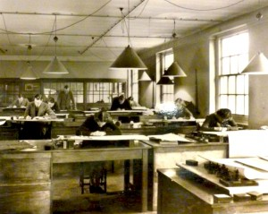River Trent Catchment Board Drawing Office interior with male and female staff at work, 1938