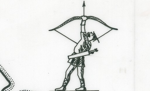 Robin Hood compass, detail from a plan of the East Midlands Electricity Board Mansfield district, BEE 4/5