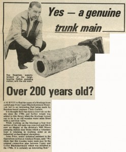 Newspaper cutting showing a 200 year old water main