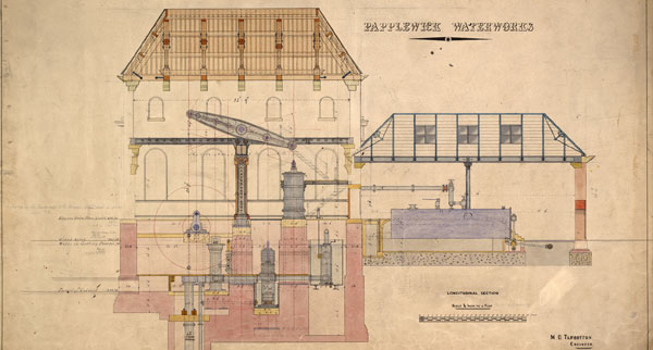 Section of Papplewick Pumping Station engine house and boiler house, c.1883