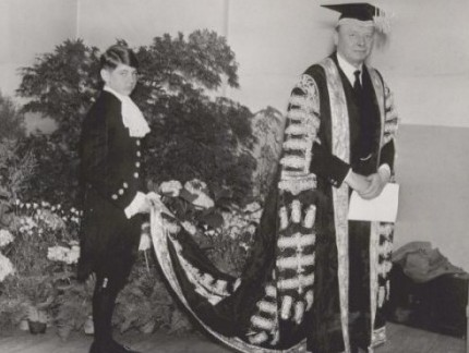 The first Chancellor of the University of Nottingham, John Campbell Boot, 2nd Baron Trent, and his page,Jeremy Norman, 3 May 1949.