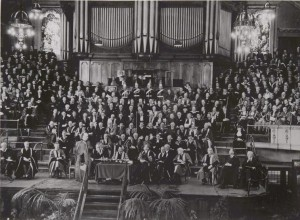 Installation of John Campbell Boot, 2nd Baron Trent, as the 1st Chancellor of the new University of Nottingham, 3 May 1949, in the Albert Hall, Nottingham (UMP/2/2/6/6)