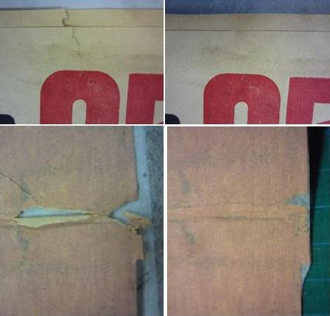 Two details of tears on MS 281/1/8 before and after repair.