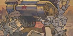 "Soviet war poster depicting Russian tank on Berlin's ""Victory Avenue"""