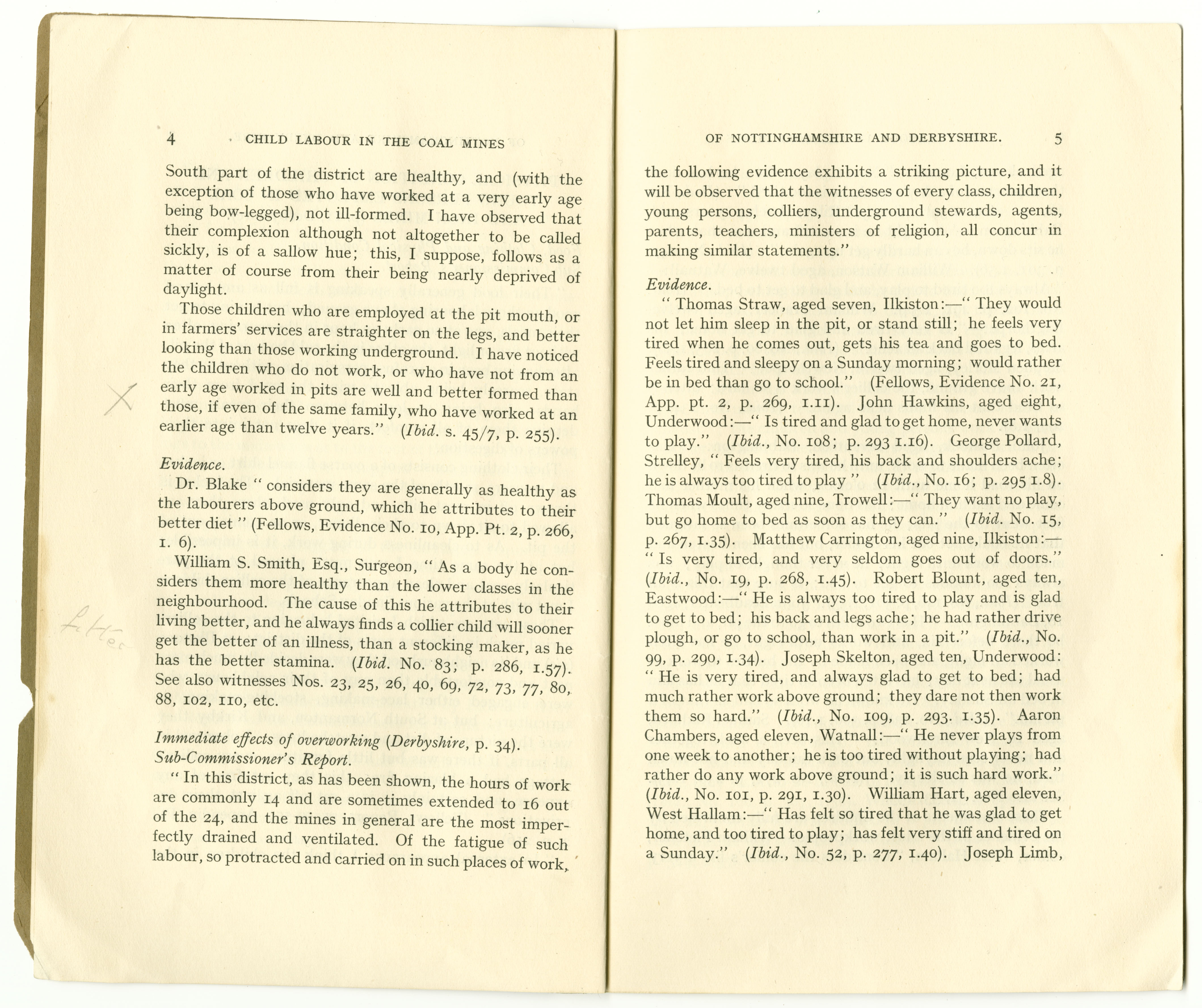 """Pages from """"Child labour in the coal mines of Nottinghamshire and Derbyshire in the nineteenth century: extracts from the Reports of Commissioners, 1842"""" by Herbert Green, 1936. (Ref Pamphlet Em. O46 GRE)"""