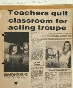 Clipping from the 'Evening Telegraph', November 1973, about the founding of the New Perspectives Theatre (Ref: NPT 2/1)