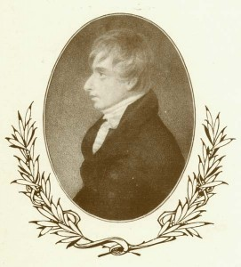 Engraving of Henry Kirke White taken from the menu from a banquet marking the centenary of his death, 1906 (Ref: Kw 3/2/2)