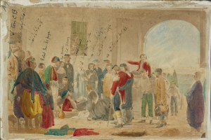 Hand coloured printed illustration of wounded soldiers at a field hospital during the Crimean War, showing Florence Nightingale in a group of bystanders (Ref: Ms 95/1)
