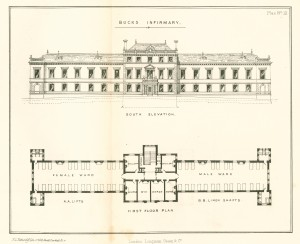 Plan of the south elevation and first floor of the Buckinghamshire Infirmary, by Mr. Brandon, drawn by F. G. Netherdift.