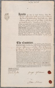 Marriage bond for George Africanus and Esther Shaw, 1788 (Ref: AN/MB/184/128)