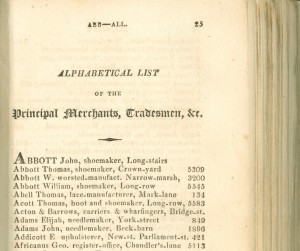 George Africanus's entry in a 1818 Trade Directory (EMSC Not 1.B15.E18)