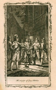 Engraving of guards surrounding Guy Fawkes