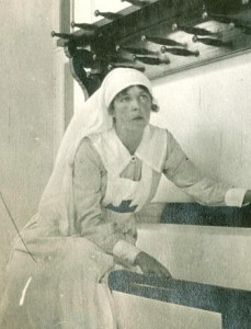 Meriel Buchanan in nurse's uniform