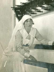 Meriel Buchanan in nurse's uniform