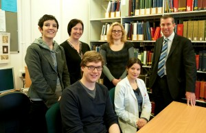 Mark Dorrington (right) is welcomed to the Reading Room by some of the Manuscripts & Special Collections staff (clockwise from left) Eleonora, Debbie, Kathryn, Abigail and Nick.