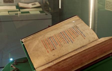 Medieval parchment service book from Rushall, Staffordshire, on display in the Weston Gallery, Lakeside Arts Centre.