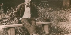 Photograph of Chekhov seated on a garden bench, undated (CHEK/TP/1/5/35)