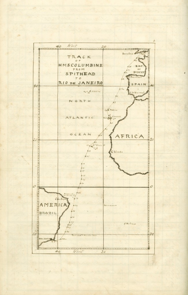 Hand-drawn map showing the route from Spithead to Rio de Janeiro, from the H.M.S Columbine's Log of H.M.S. Columbine; 1863